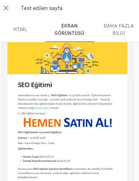 Google Search Console URL Denetleme Aracı Ekran Görüntüsü