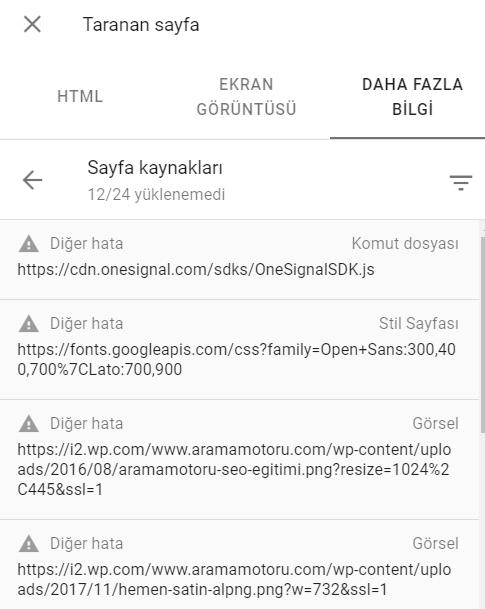 Google Search Console URL Denetleme Aracı Engellenen KAynaklar