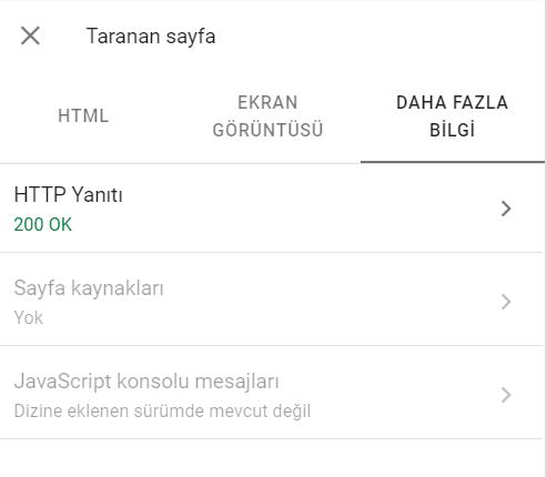 Google Search Console URL Denetleme Aracı HTTP Durum Kodları