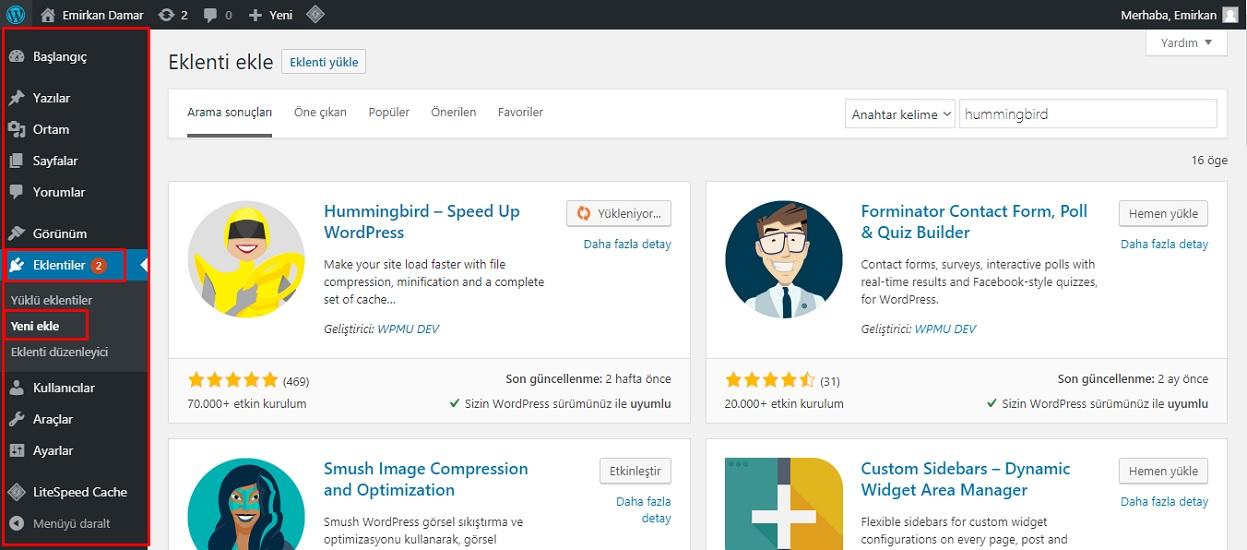 WordPress eklentiler nelerdir?