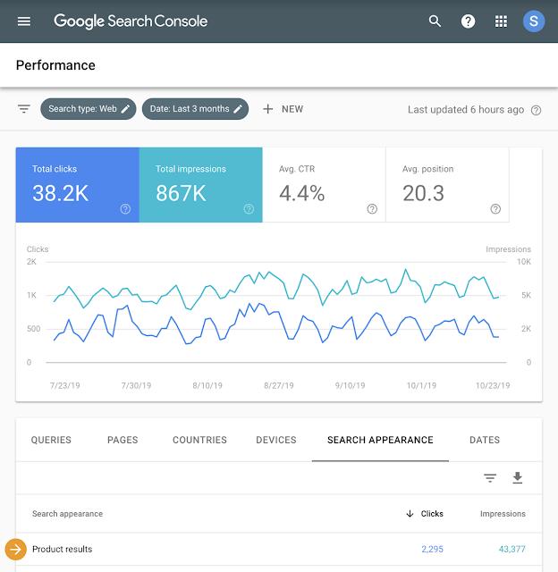 Google Search Console ürün zengin sonuçları görünümü