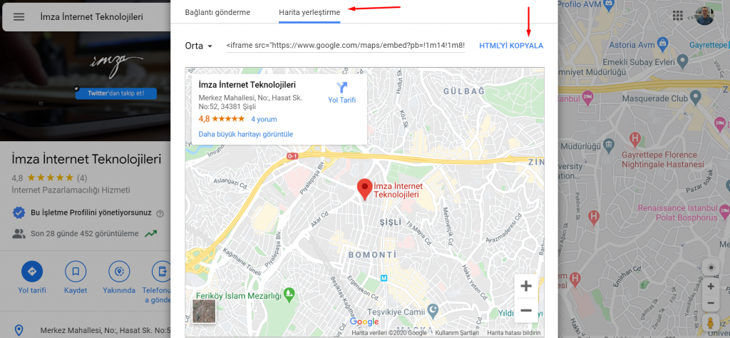 Google My Business HTML kodu bulma