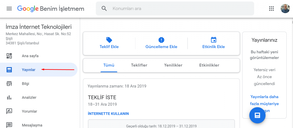 Google My Business Yayınlar