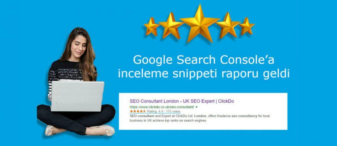 Google Search Console'a inceleme snippeti raporu geldi
