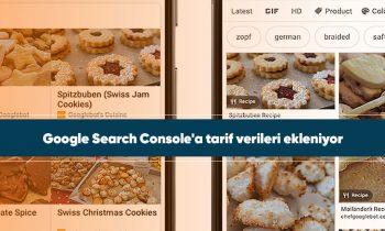 Google Search Console'a tarif verileri ekleniyor